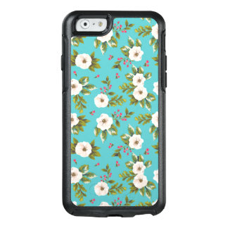 White flowers painting on turquoise background OtterBox iPhone 6/6s case