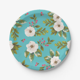 White flowers painting on turquoise background paper plate