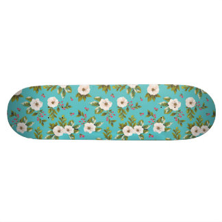 White flowers painting on turquoise background skate board decks