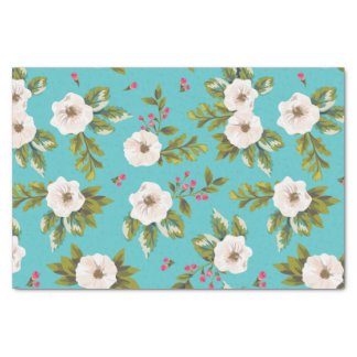 White flowers painting on turquoise background tissue paper