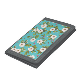 White flowers painting on turquoise background tri-fold wallet