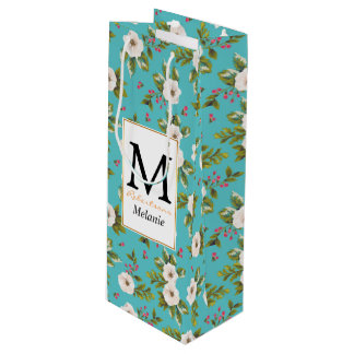 White flowers painting on turquoise background wine gift bag