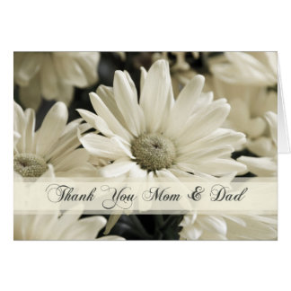 White Flowers Parents  Wedding Day Thank You Card