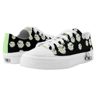 White Flowers Pattern Cust. Zipz Shoes
