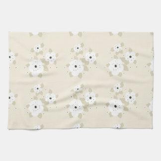 White Flowers Pattern Kitchen Towel
