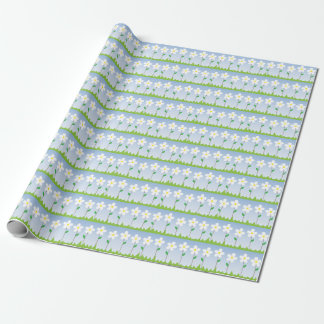 White Flowers Pattern Wrapping Paper