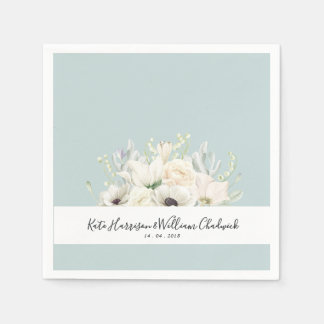White Flowers |Personalised Wedding Paper Napkin