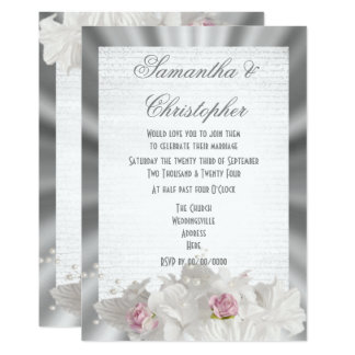 White flowers pink rose on silver grey wedding card