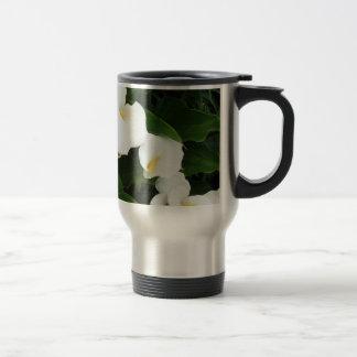 White flowers Stainless Steel  Travel/Commuter Mug