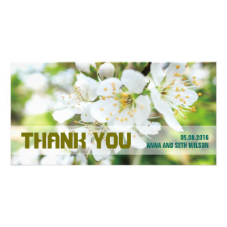 White Flowers Thank You Photo Card