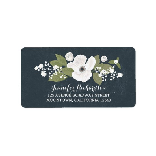 white flowers vintage wedding address labels