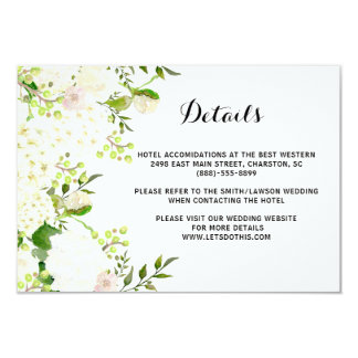 White flowers Wedding Retails, directions insert Card
