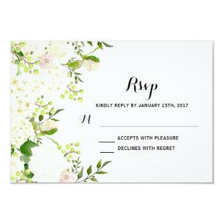 White flowers Wedding RSvp, Card