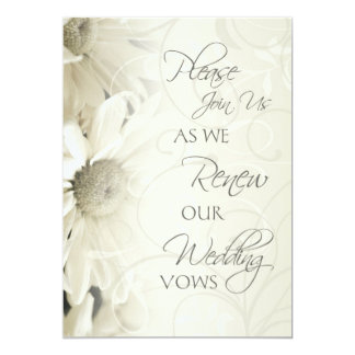 White Flowers Wedding Vow Renewal Invitations