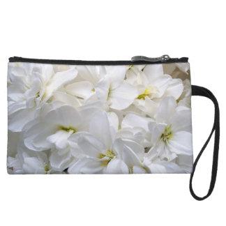 White Flowers Wristlet Clutch