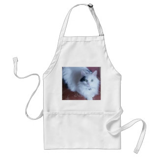 White fluffy cat craft or kitchen apron. standard apron