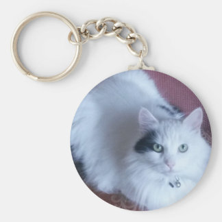 White fluffy cat cute feline friend basic round button key ring
