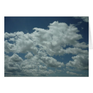 White fluffy clouds in blue sky card