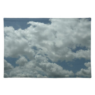 White fluffy clouds in blue sky placemats