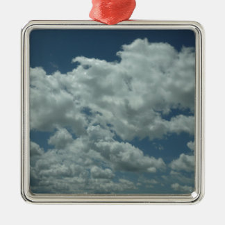 White, fluffy clouds in blue sky Silver-Colored square decoration