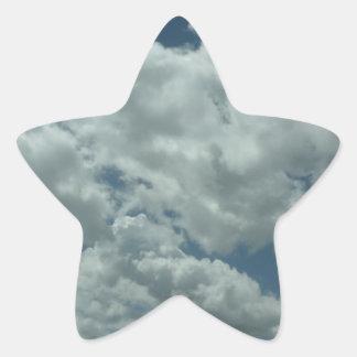 White fluffy clouds in blue sky star sticker