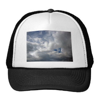 White fluffy clouds on the blue sky mesh hat