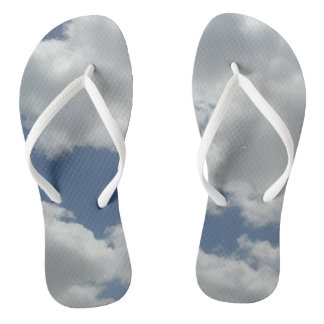 White Fluffy Clouds Photo Print Design Fun Thongs