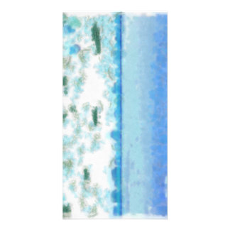 White foamy water near the beach personalized photo card