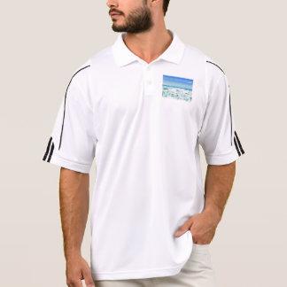 White foamy water near the beach polo t-shirts