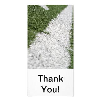 White Football Line Customised Photo Card