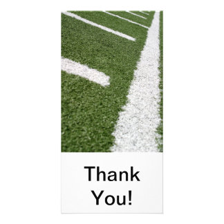 White Football Lines Personalized Photo Card