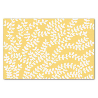 White Forest on Yellow Background Tissue Paper