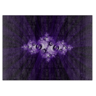 White fractal on purple background. cutting board