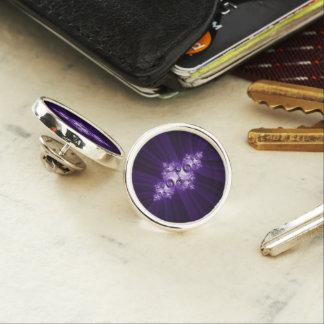 White fractal on purple background lapel pin