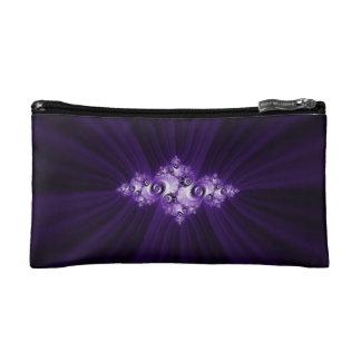 White fractal on purple background makeup bag