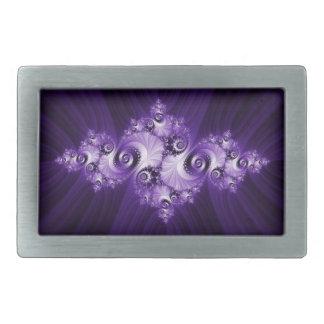 White fractal on purple background rectangular belt buckle