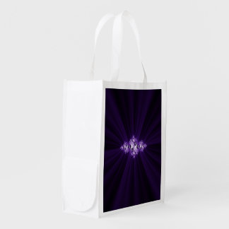 White fractal on purple background reusable grocery bag