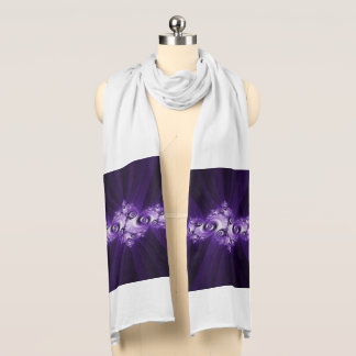 White fractal on purple background scarf