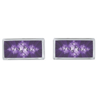 White fractal on purple background silver finish cufflinks