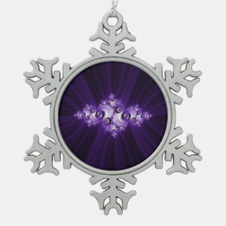 White fractal on purple background snowflake pewter christmas ornament