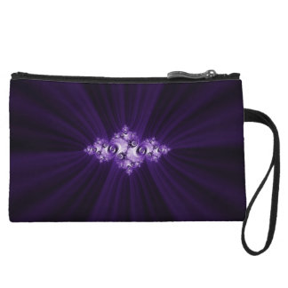 White fractal on purple background wristlet