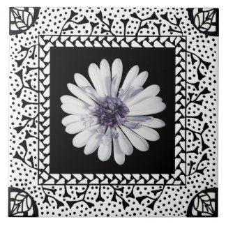 White Frame Ceramic Tile for Your Image