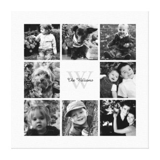 White Frame Monogrammed Photo Collage Stretched Canvas Print