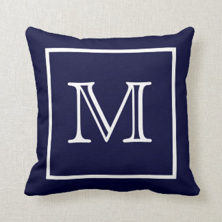 White Framed Blue Monogram American MoJo Pillow