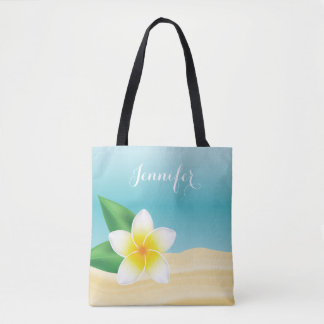 White Frangipani Tropical Flower With Custom Name Tote Bag