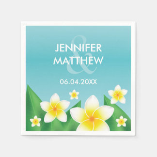 White Frangipani With Leaves Tropical Wedding Paper Serviettes