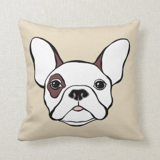 White French Bulldog Frenchy Brown Eye Patch Cushion