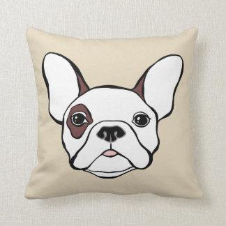 White French Bulldog Frenchy Brown Eye Patch Throw Pillow