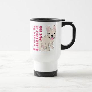 White French Bulldog Mom Pink Text Travel Mug