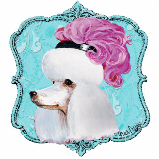 White French Poodle in Hat Sculpture Ornament Photo Sculpture Decoration